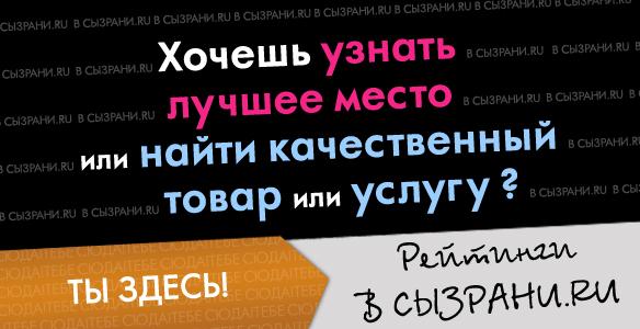Рейтинг мест и услуг города Сызрань